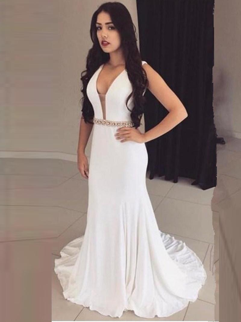 Ericdress Sheath V Neck Beaded Backless Evening Dress