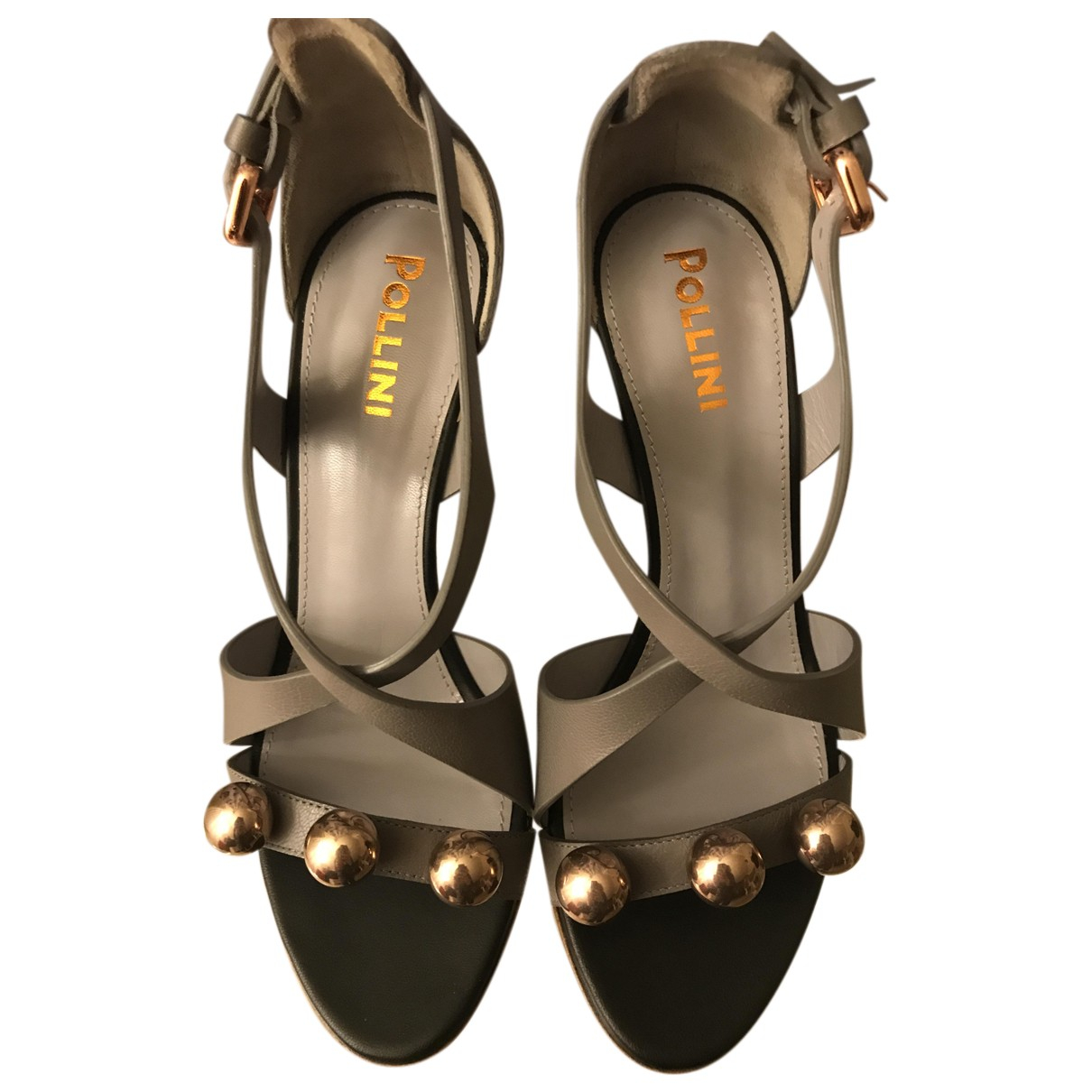Pollini N Grey Leather Sandals for Women 36 IT