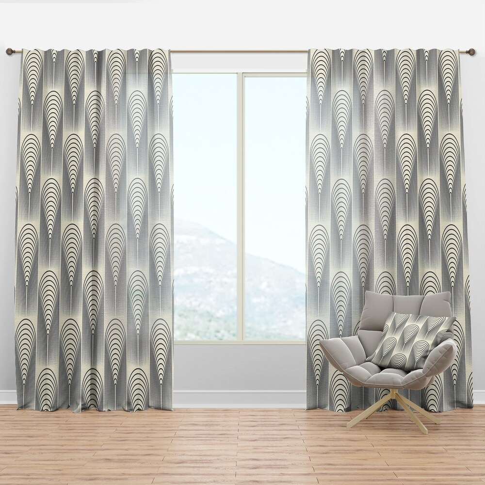 Designart 'Retro conical geometry' Mid-Century Modern Curtain Panel (50 in. wide x 84 in. high - 1 Panel)