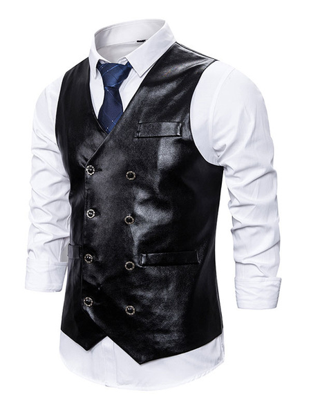 Milanoo Men Dress Vests PU Waistcoat Sleeveless Jacket