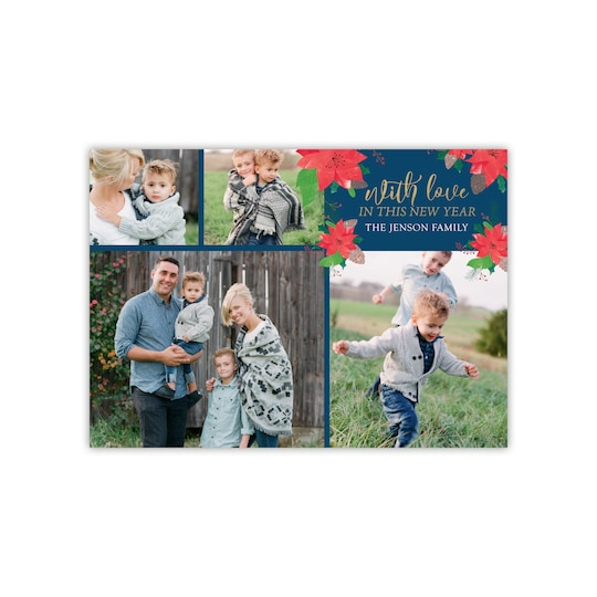 Gartner Studios® Personalized Poinsettia Flat Holiday Photo Card | Michaels®