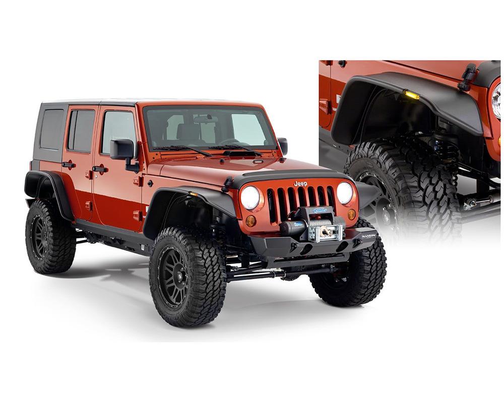BUSHWACKER - FF JEEP FLAT STYLE 4PC Jeep Wrangler Front and Rear 2007-2017