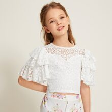 Girls Layered Flutter Sleeve Exposed Zipper Back Lace Top