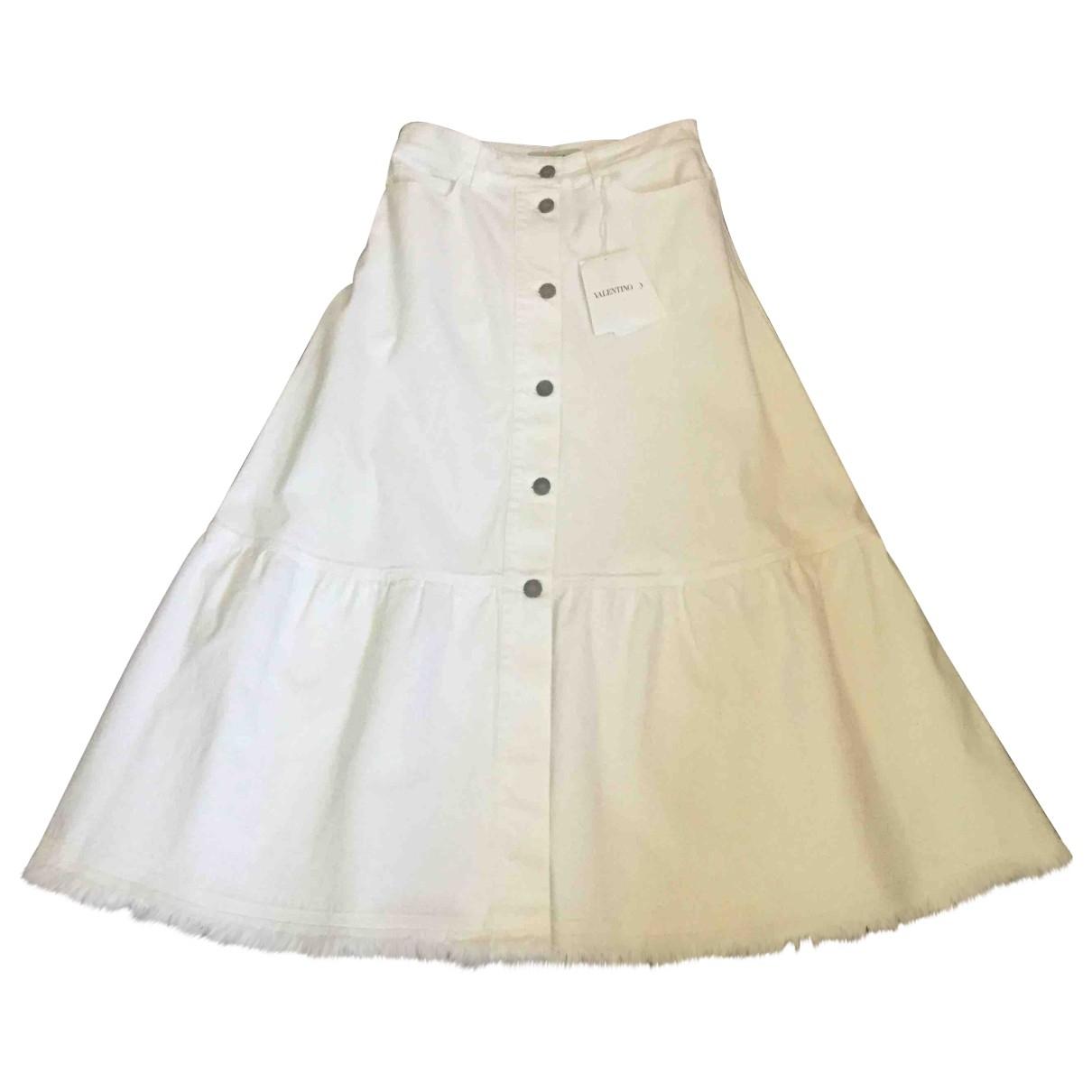 Valentino Garavani \N White Cotton skirt for Women 40 IT