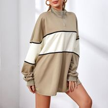 Contrast Panel Drop Shoulder Oversized Sweatshirt