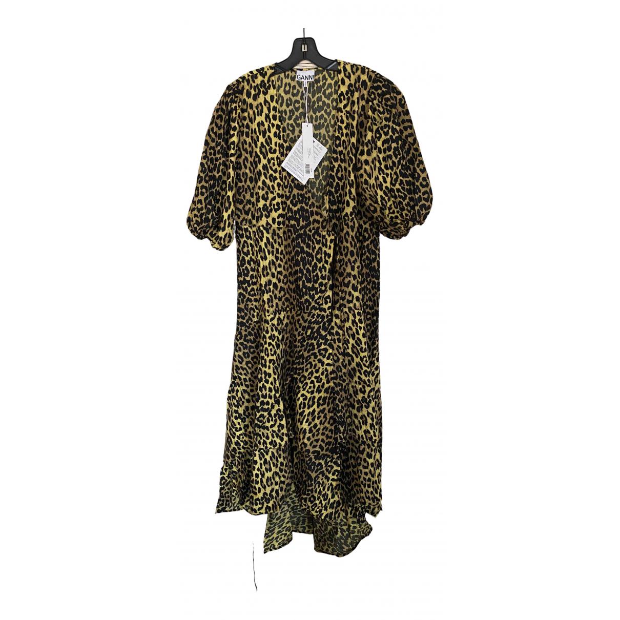 Ganni \N Kleid in  Gelb Baumwolle