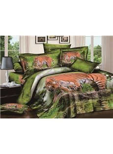3D Wandering Tiger Printed Cotton 4-Piece Bedding Sets/Duvet Covers