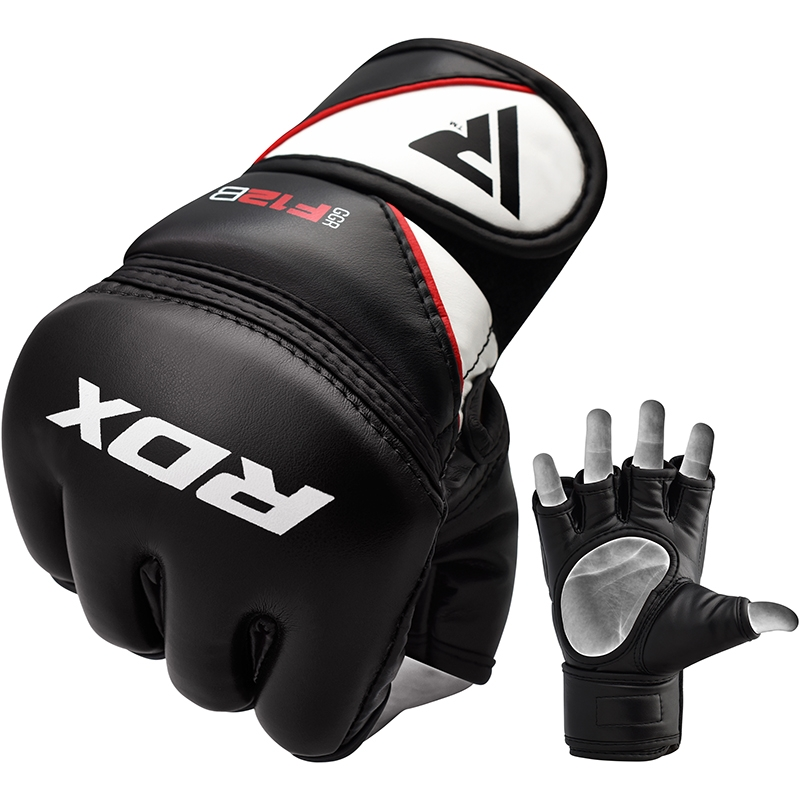RDX F12 Training MMA Gloves PU Leather Extra Large Black/White/Red