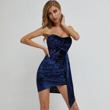 Zip Back Draped Detail Velvet Tube Dress