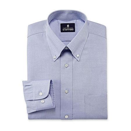 Stafford Mens Wrinkle Free Pintpoint Button Down Collar Oxford Dress Shirt, 17 34-35, Blue
