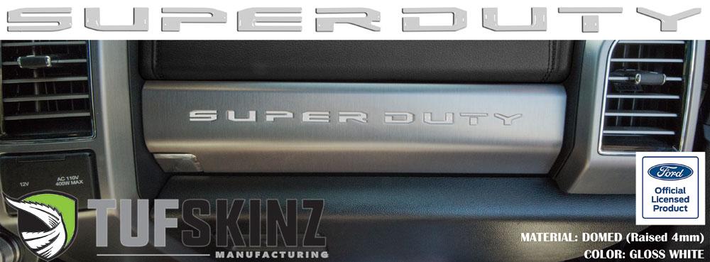 Tufskinz SUP052-WHT-G SUPER DUTY Glove Box Letter Inserts Fits 2017-2021 Ford Super Duty 10 Piece Kit Gloss White