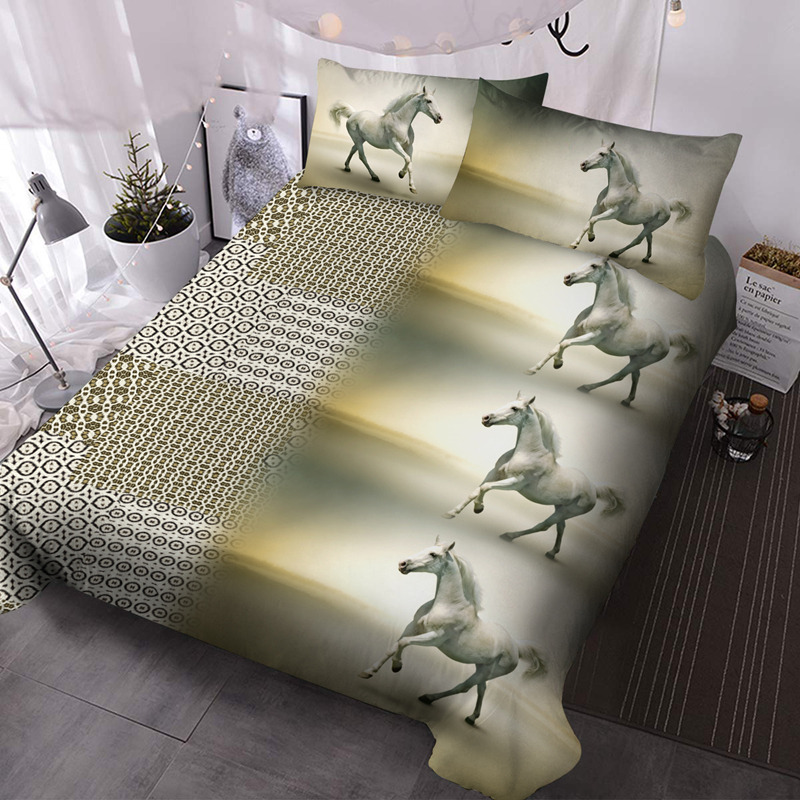 Horse 3Pcs Microfiber Wrinkle/Fade Resistant Comforter Set 3D Animal Comforter Insert with 2 Pillow Covers