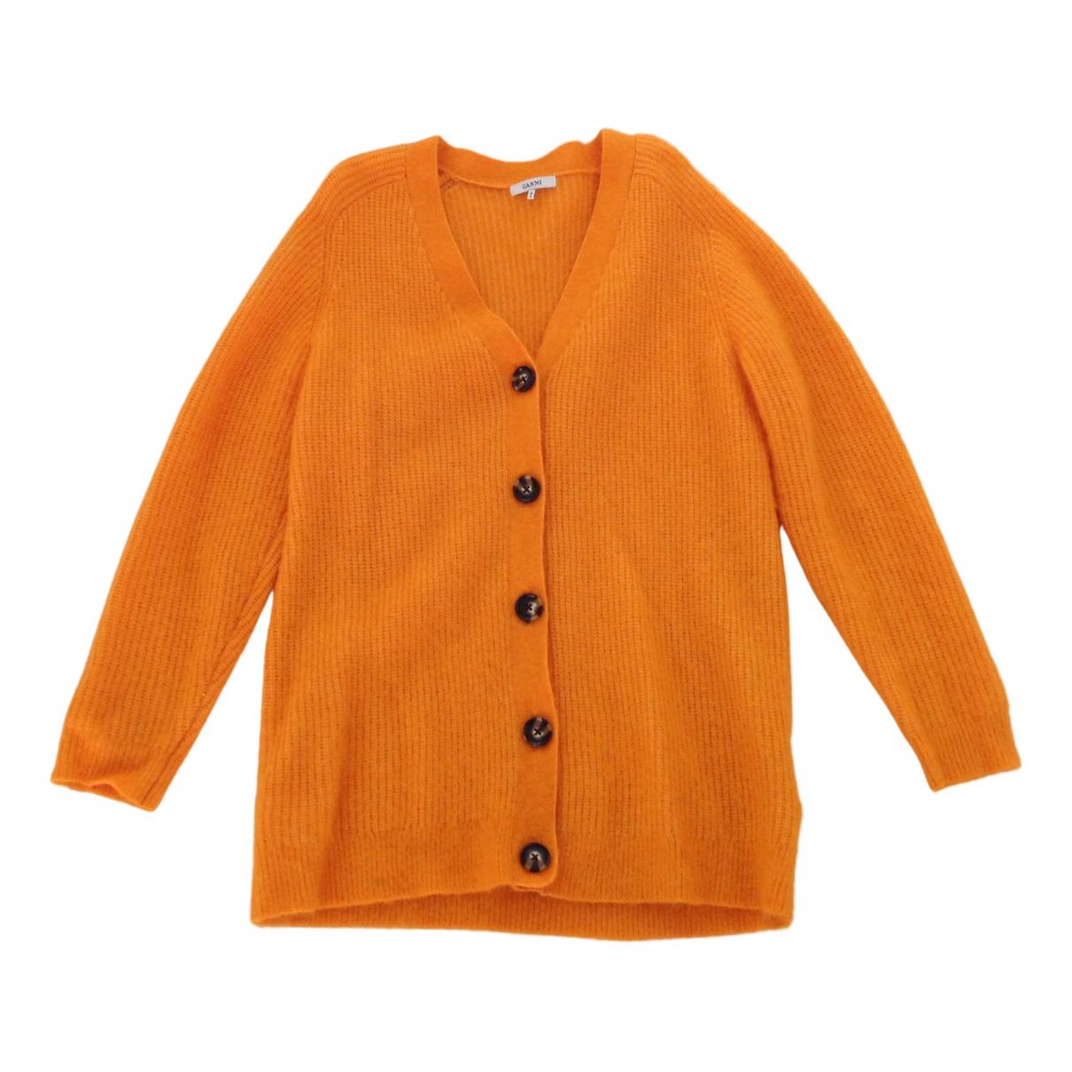 Ganni - Pull   pour femme en laine - orange