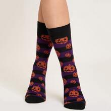 Socken mit Halloween Kuerbis Muster