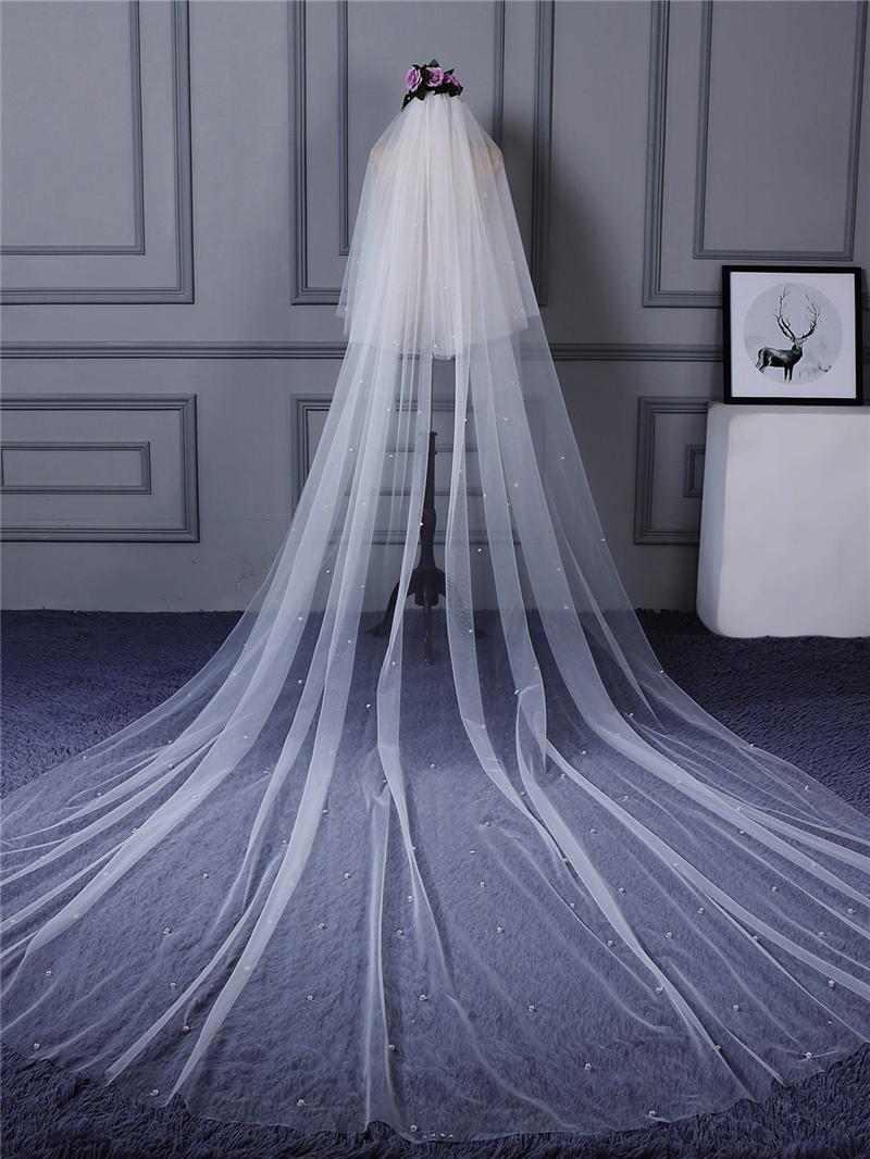 Ericdress Pearls Tulle Long Bridal Veil