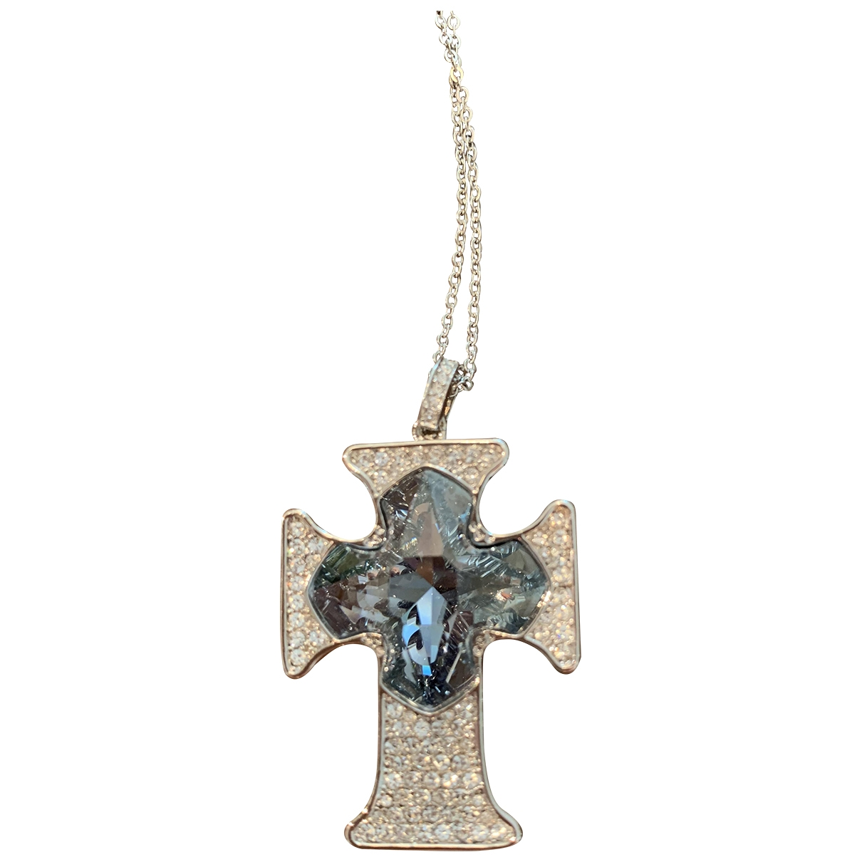 Non Signé / Unsigned Croix Blue Crystal pendant for Women \N