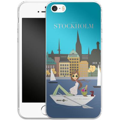 Apple iPhone 5s Silikon Handyhuelle - STOCKHOLM TRAVEL POSTER von IRMA