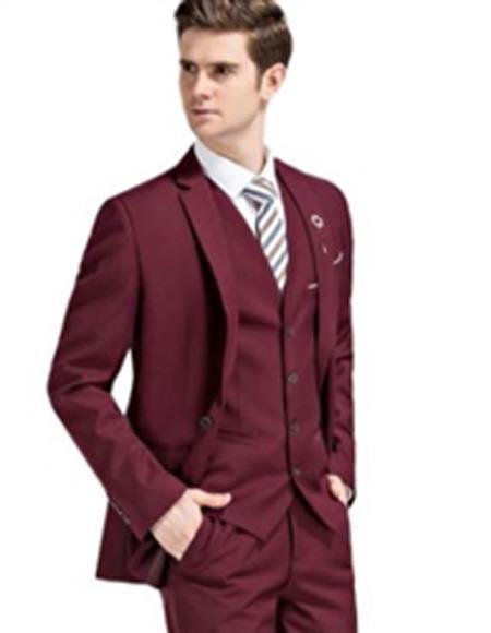 Mens Slim Fit Suit Burgundy Notch Lapel