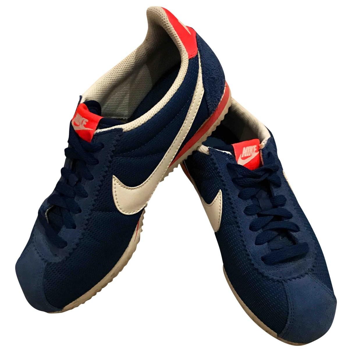 Nike Cortez Sneakers in  Blau Leinen