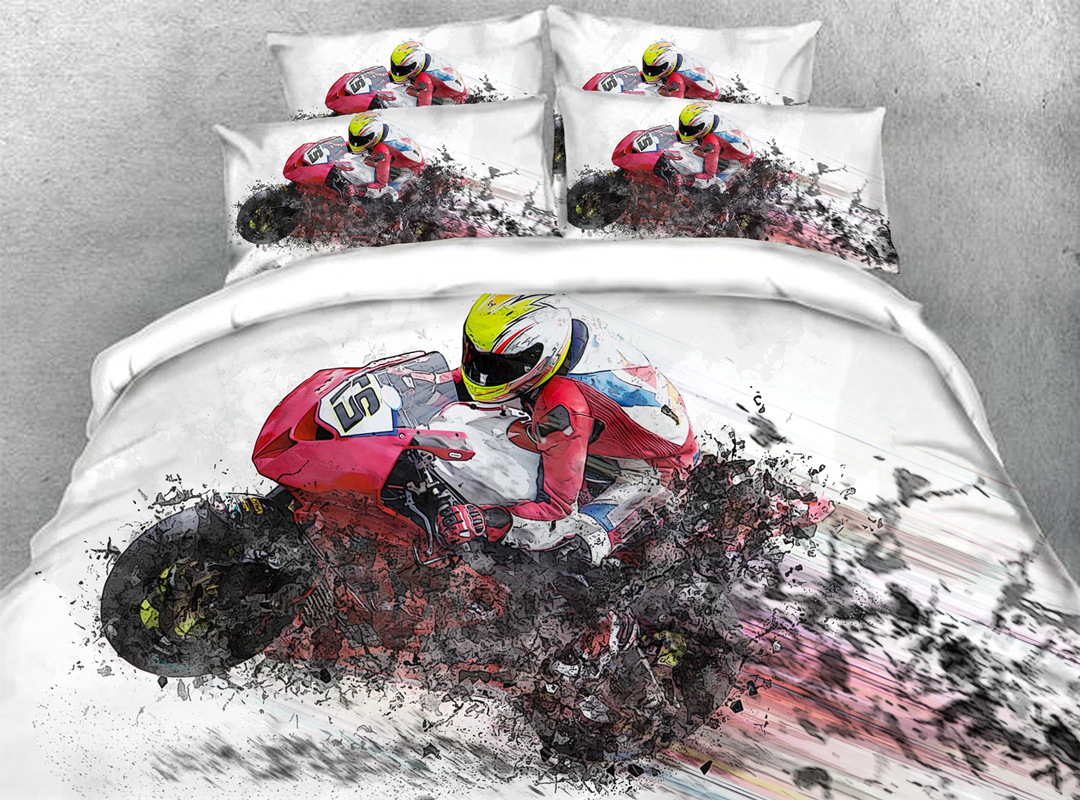3D Motorcycling Sports Style Bedding 4Pcs Soft Duvet Cover Set with Zipper Ties