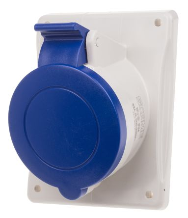 RS PRO IP44 Blue Panel Mount 2P+E Heavy Duty Power Connector Socket, Rated At 32.0A, 230.0 V