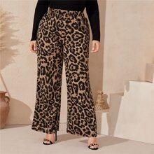 Plus Elastic Waist Leopard Print Palazzo Pants