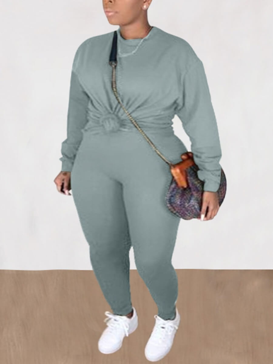 LW Lovely Casual O Neck Long Sleeve Grey Plus Size Two-piece Pants Set