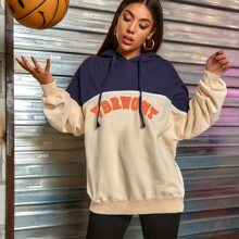 Colorblock And Letter Graphic Drawstring Oversized Hoodie