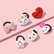 6 piezas goma de pelo de niñitas con dibujos animados