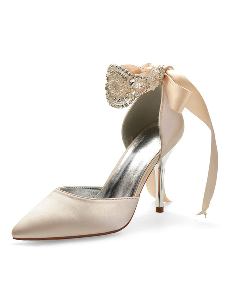 Milanoo Wedding Shoes Silver Satin Studded Pointed Toe Stiletto Heel Bridal Shoes
