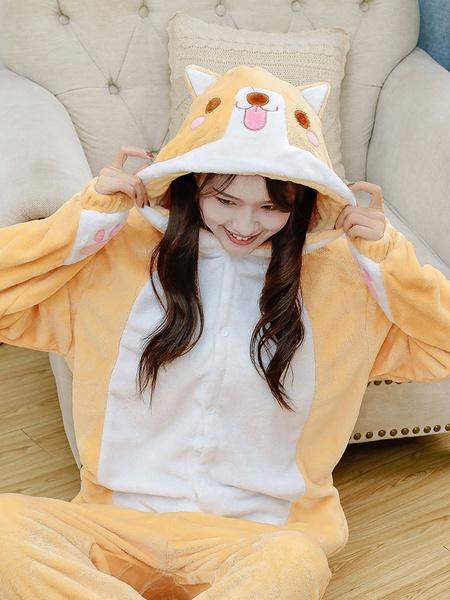 Milanoo Pijamas Kigurumi Shiba Inu perro Onesie adultos Unisex franela invierno ropa de dormir disfraz Cosplay Halloween