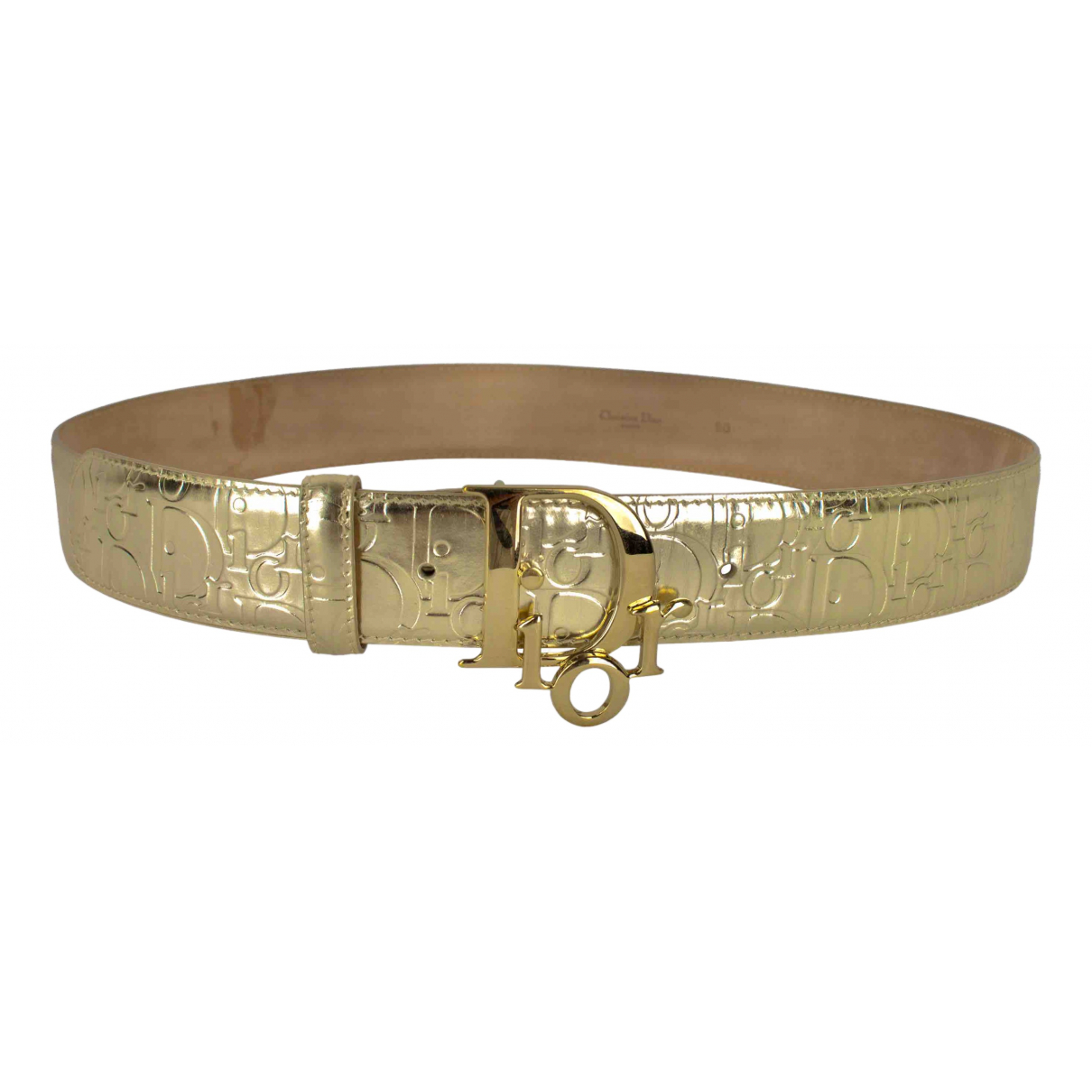 Dior \N Gold Patent leather belt for Women S International