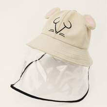 Girls Cartoon Graphic Bucket Hat With Detachable Face Shield