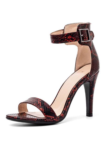 Milanoo High Heel Sandals Womens Snakeskin Open Toe Ankle Strap Stiletto Heel Sandals