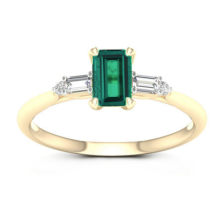 Womens Genuine Green Emerald 10K Gold Promise Ring, 9 , No Color Family