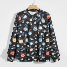 Men Planet Print Drop Shoulder Sweatshirt