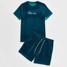 Men Letter Embroidered Velvet Top and Drawstring Waist Shorts Set