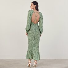 Vestidos Cremallera floral de margarita Elegante