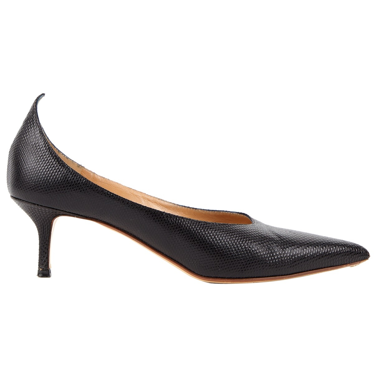 Francesco Russo \N Black Leather Heels for Women 37 EU