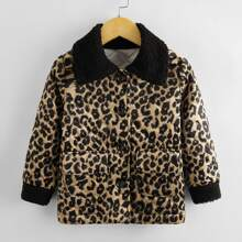 Toddler Girls Leopard Print Single Breasted Contrast Collar Jacket