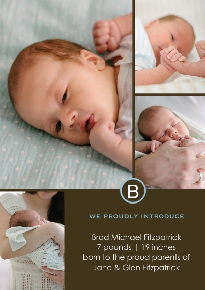 Newborn Flat Matte Photo Paper Cards with Envelopes, 5x7, Card & Stationery -Classic Boy Monogram