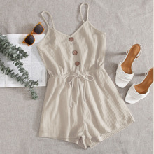 Button Front Tie Waist Waffle Knit Cami Romper