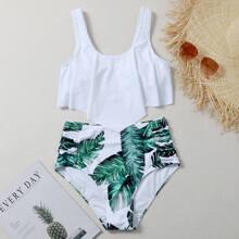 Bikini Badeanzug mit tropischem Muster und Zipfelsaum