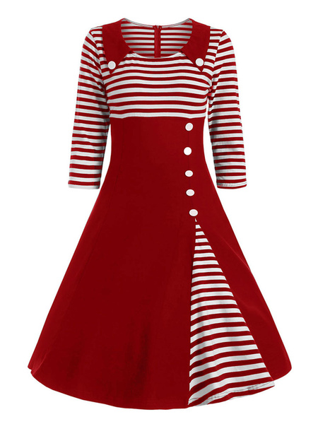 Milanoo Vestido vintage Vestido de oscilacion de media manga de mujer negra de los años 50