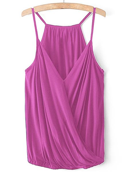 Yoins Purple V-neck Wrap Front Cami Top