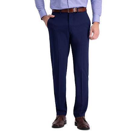 JM Haggar Slim Fit Flat Front Pant, 32 30, Blue