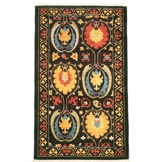 ECARPETGALLERY  Hand-knotted Lahore Finest Collection  Black Wool Rug - 3'0 x 5'0 (Black - 3'0 x 5'0)