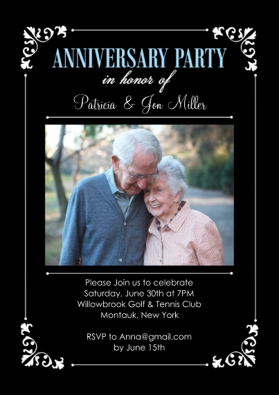 Anniversary Invitations 5x7 Cards, Standard Cardstock 85lb, Card & Stationery -Anniversary Party Corner Frame Photo