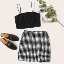 Solid Cami Crop Top & Houndstooth Split Skirt Set