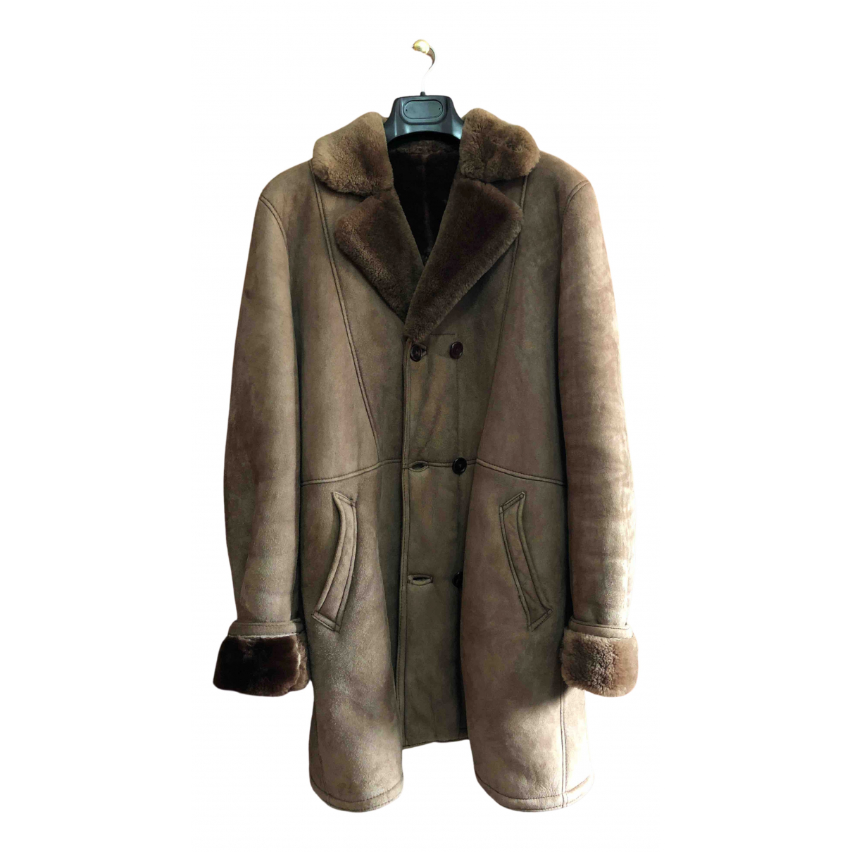 Non Signé / Unsigned N Brown Shearling coat  for Men L International